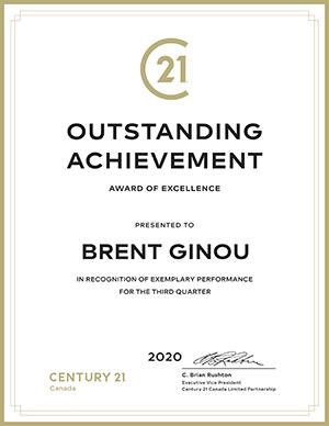 Brent Ginou Outstanding Achievement 3rd Quarter